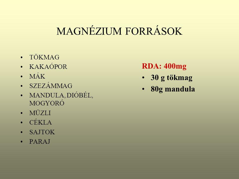 MAGNÉZIUM FORRÁSOK RDA: 400mg 30 g tökmag 80g mandula TÖKMAG KAKAÓPOR