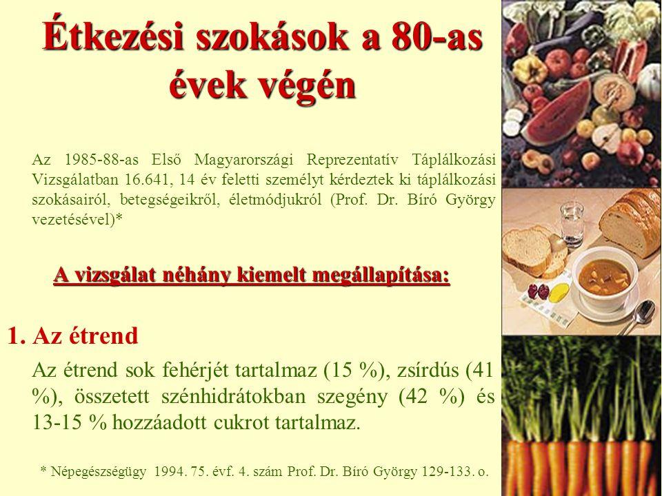 Étkezési szokások a 80-as évek végén