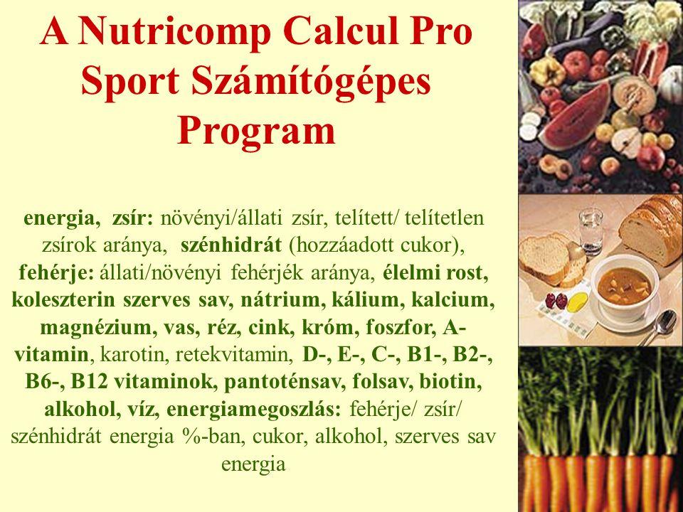 A Nutricomp Calcul Pro Sport Számítógépes Program