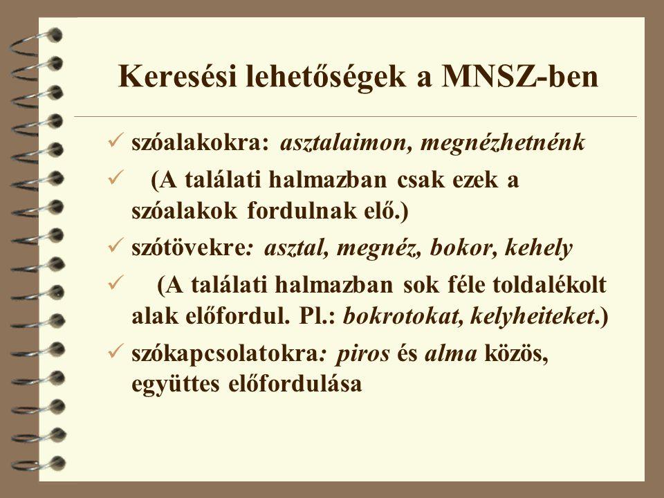 Keresési lehetőségek a MNSZ-ben