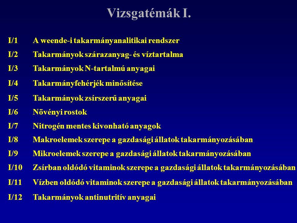 Vizsgatémák I. I/1 A weende-i takarmányanalitikai rendszer I/2