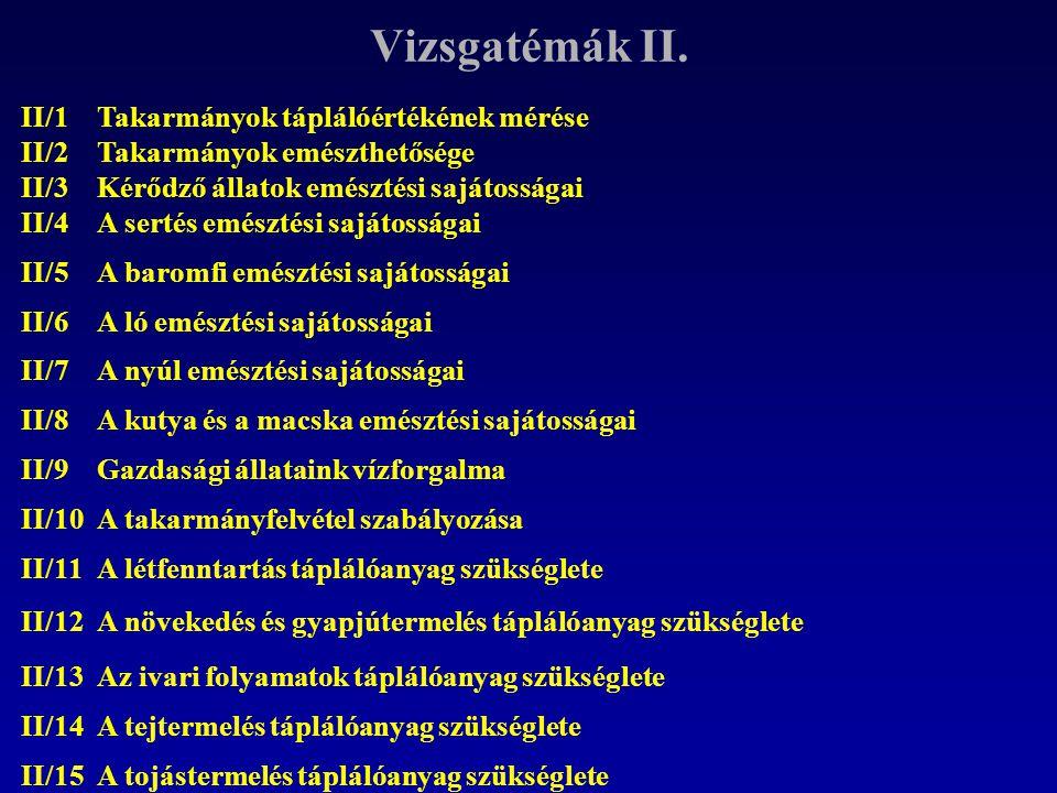 Vizsgatémák II. II/1 II/2 Takarmányok táplálóértékének mérése