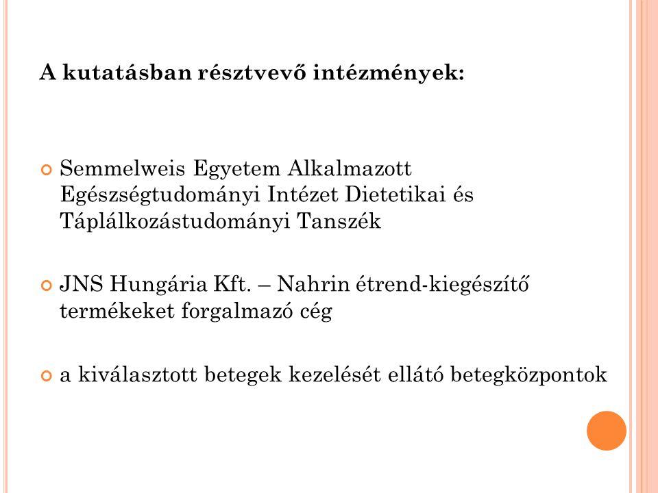 A kutatásban résztvevő intézmények: