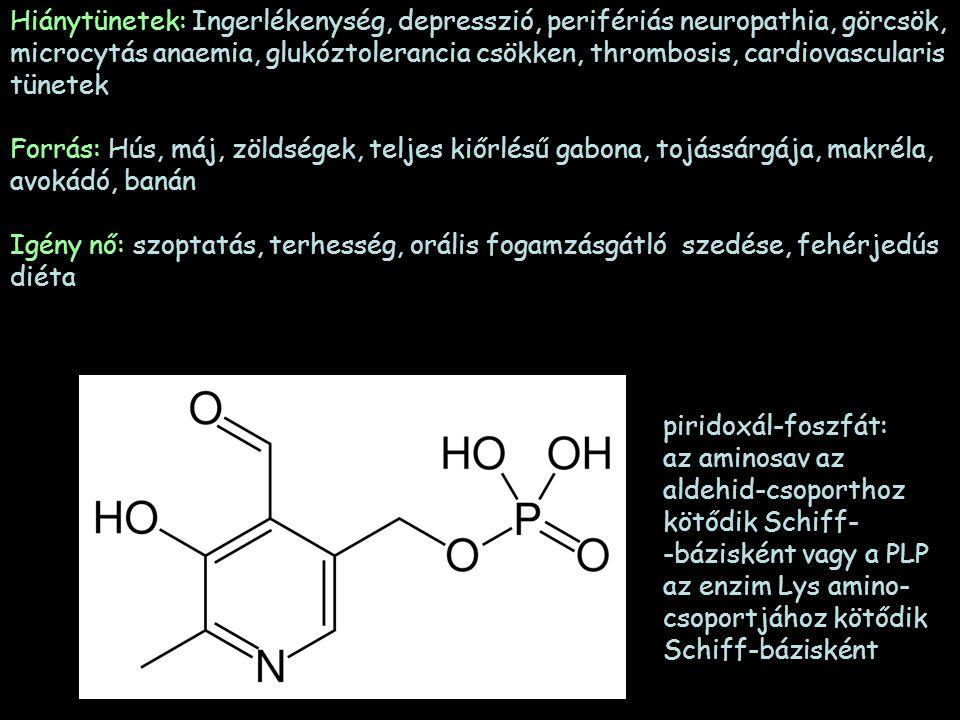 Hiánytünetek: Ingerlékenység, depresszió, perifériás neuropathia, görcsök, microcytás anaemia, glukóztolerancia csökken, thrombosis, cardiovascularis tünetek