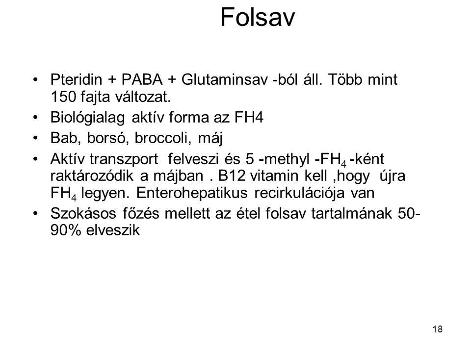 Folsav Pteridin + PABA + Glutaminsav -ból áll. Több mint 150 fajta változat. Biológialag aktív forma az FH4.