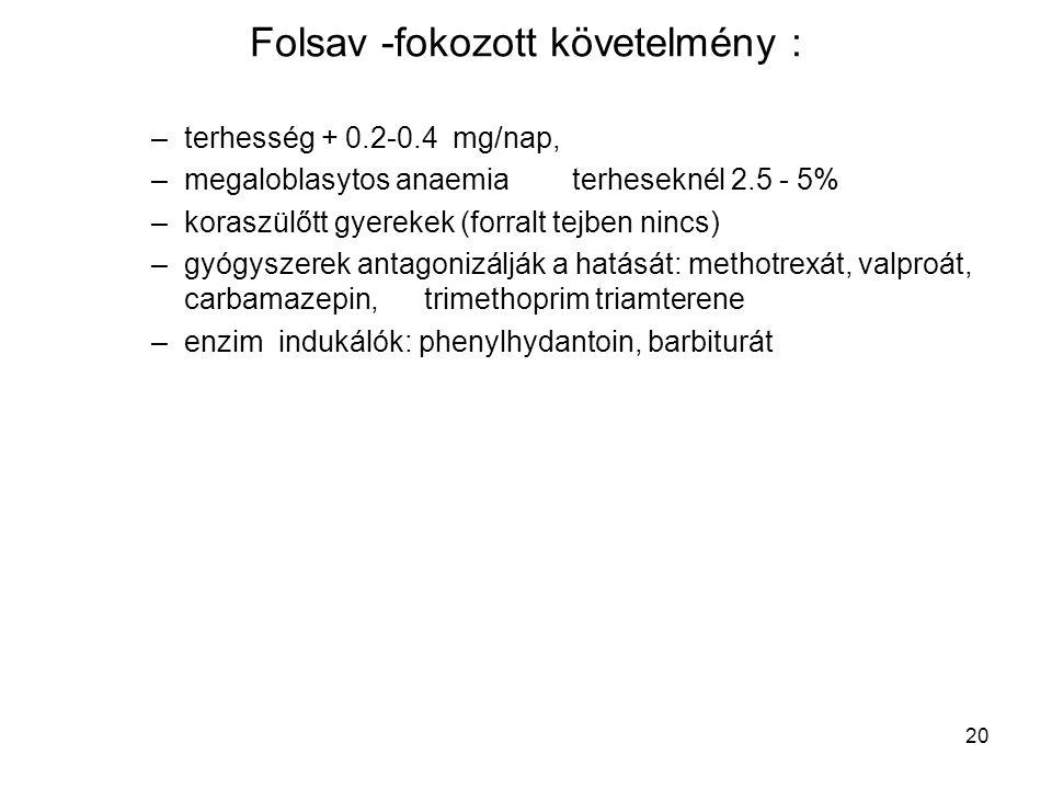 Folsav -fokozott követelmény :