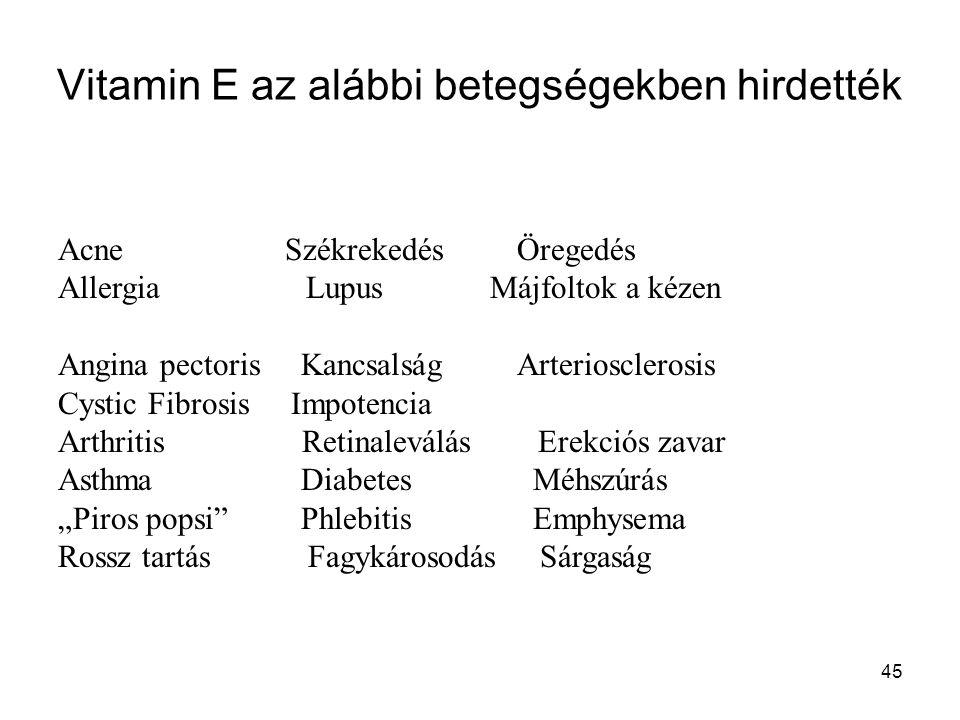 Vitamin E az alábbi betegségekben hirdették