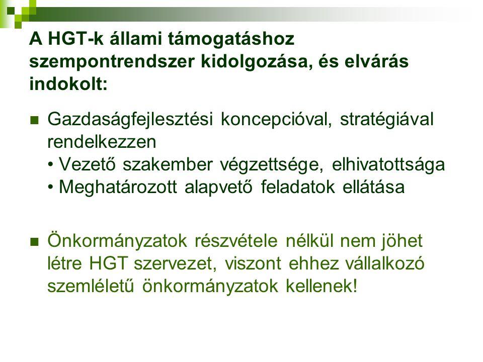 A HGT-k állami támogatáshoz szempontrendszer kidolgozása, és elvárás indokolt: