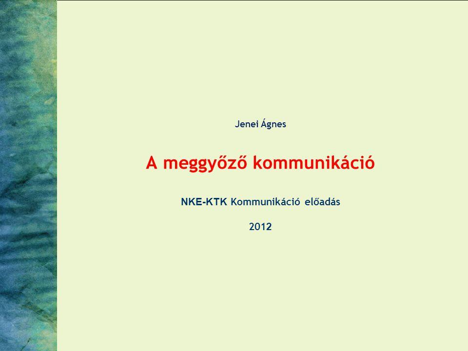 Jenei Ágnes A meggyőző kommunikáció NKE-KTK Kommunikáció előadás 2012