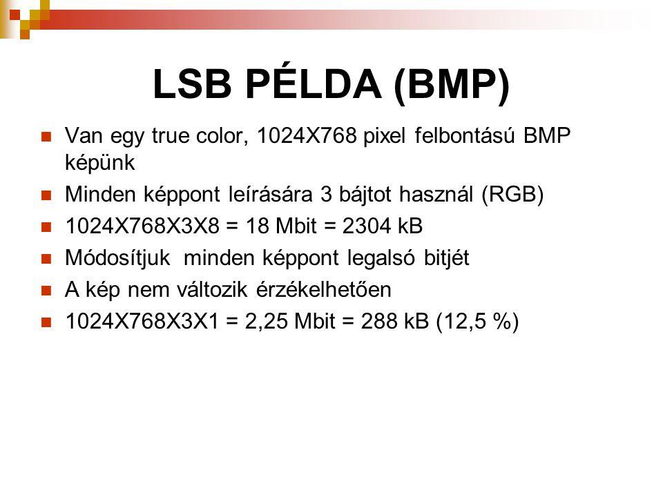 LSB PÉLDA (BMP) Van egy true color, 1024X768 pixel felbontású BMP képünk. Minden képpont leírására 3 bájtot használ (RGB)