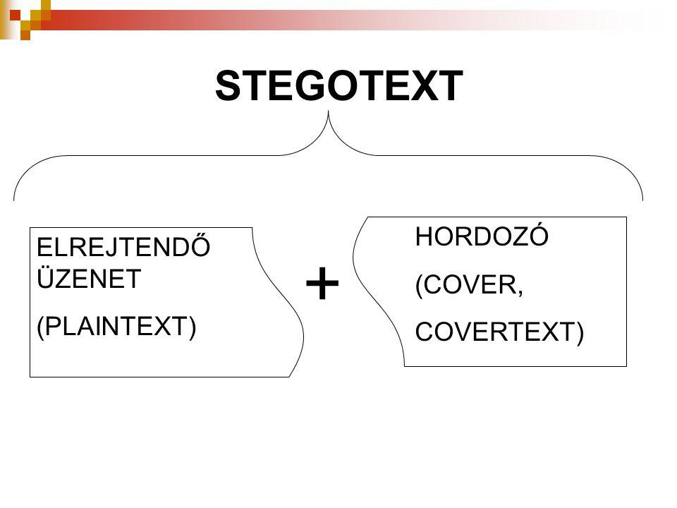 STEGOTEXT HORDOZÓ (COVER, COVERTEXT) ELREJTENDŐ ÜZENET (PLAINTEXT) +
