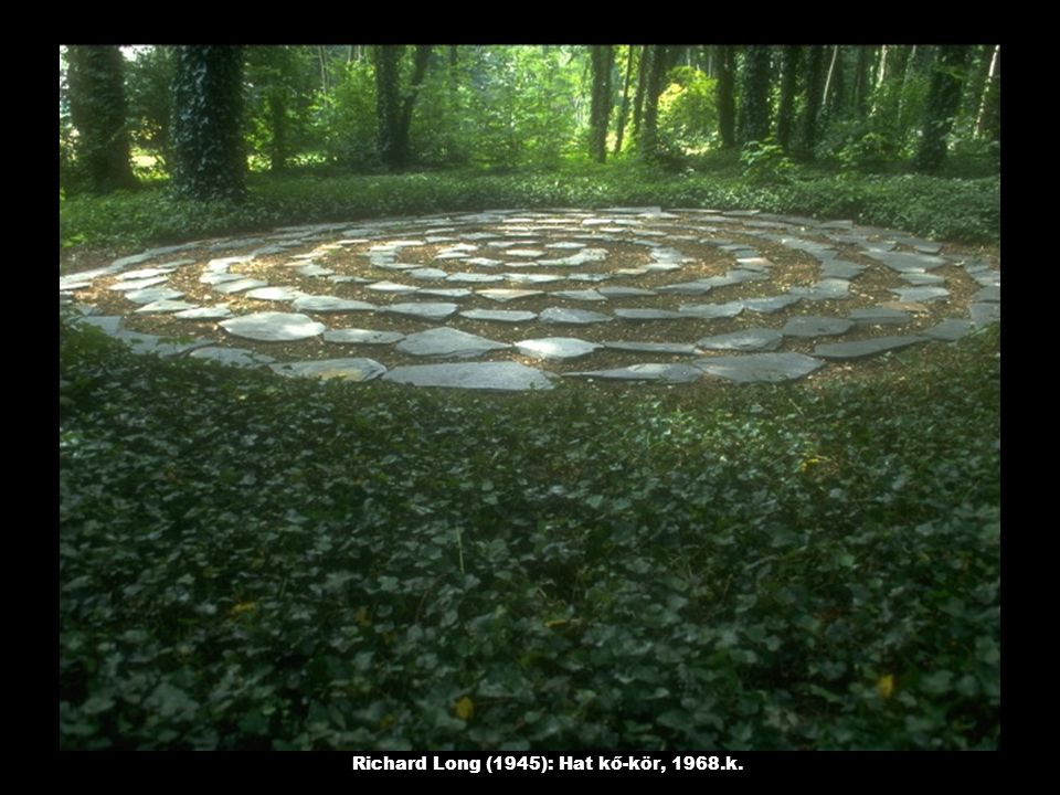 Richard Long (1945): Hat kő-kör, 1968.k.