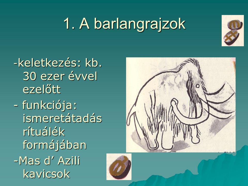 1. A barlangrajzok - funkciója: ismeretátadás rítuálék formájában