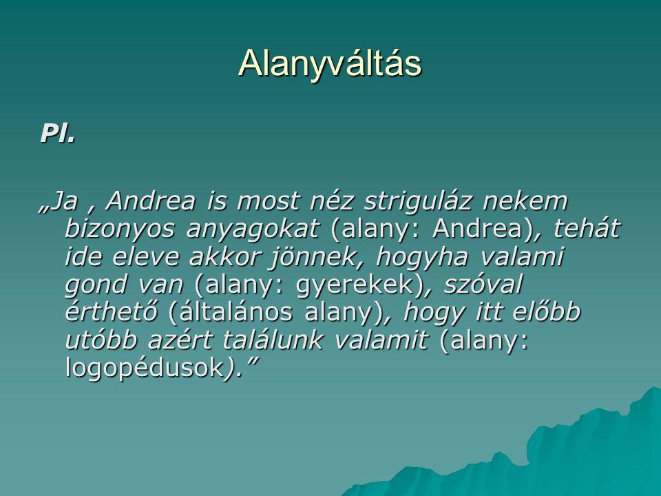 Alanyváltás Pl.