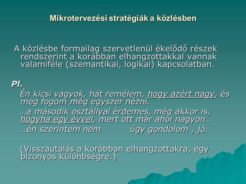 Mikrotervezési stratégiák a közlésben