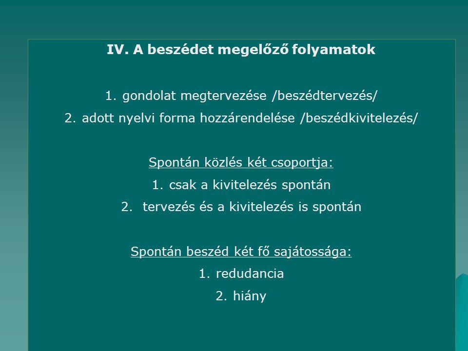 IV. A beszédet megelőző folyamatok