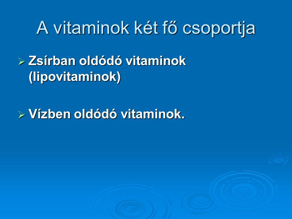 A vitaminok két fő csoportja