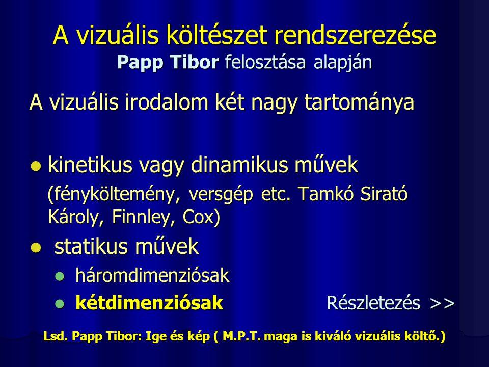 A vizuális költészet rendszerezése Papp Tibor felosztása alapján