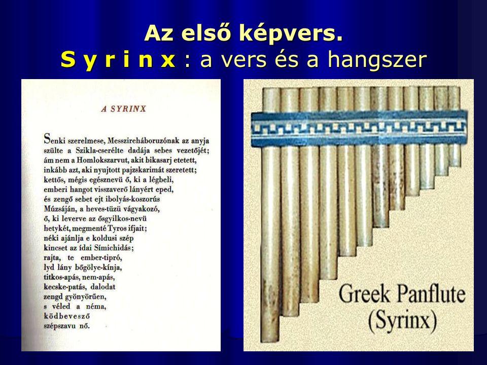 Az első képvers. S y r i n x : a vers és a hangszer