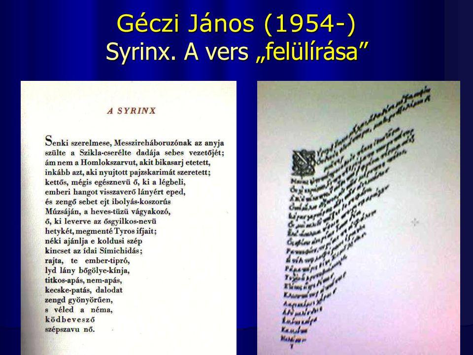 """Géczi János (1954-) Syrinx. A vers """"felülírása"""