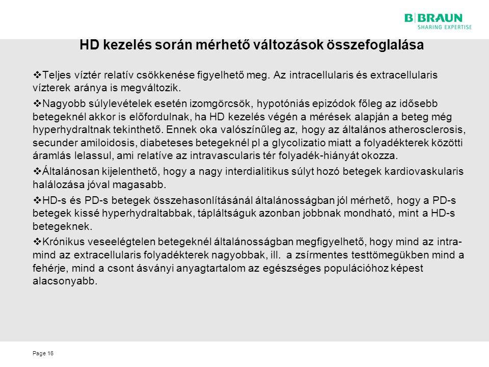 HD kezelés során mérhető változások összefoglalása