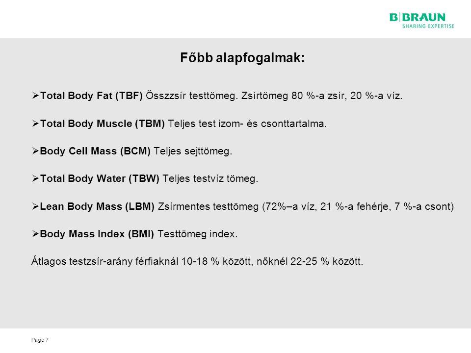 Főbb alapfogalmak: Total Body Fat (TBF) Összzsír testtömeg. Zsírtömeg 80 %-a zsír, 20 %-a víz.