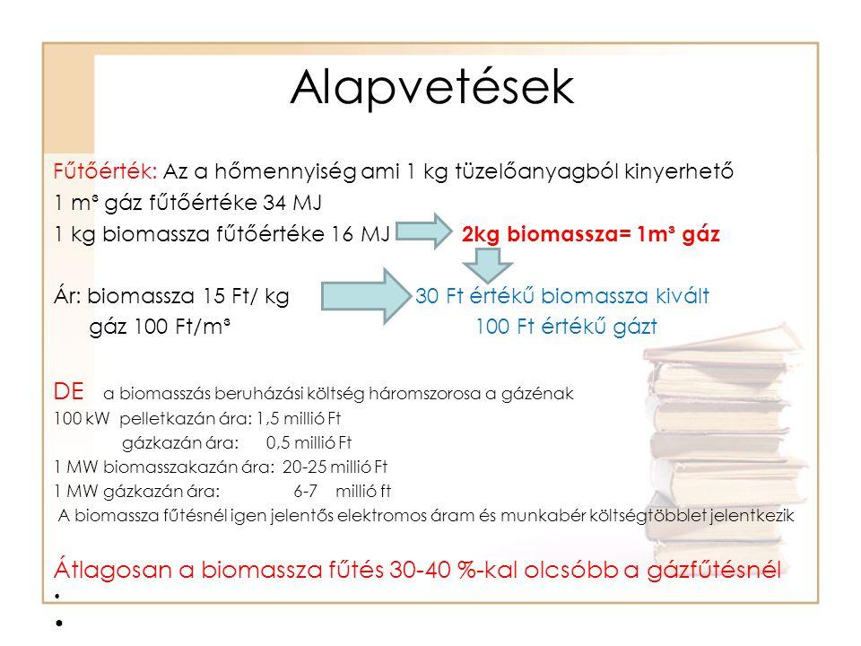 Alapvetések DE a biomasszás beruházási költség háromszorosa a gázénak
