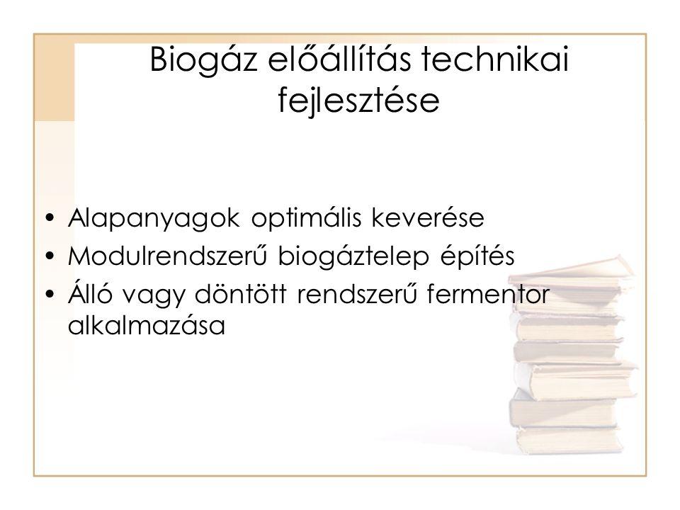 Biogáz előállítás technikai fejlesztése
