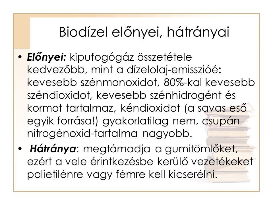 Biodízel előnyei, hátrányai