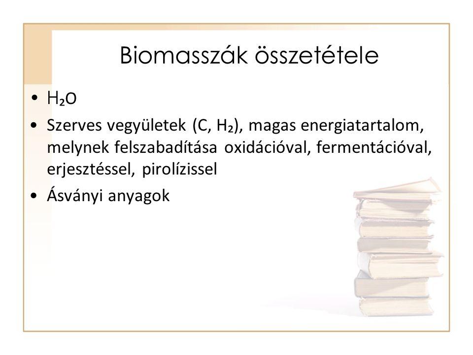 Biomasszák összetétele