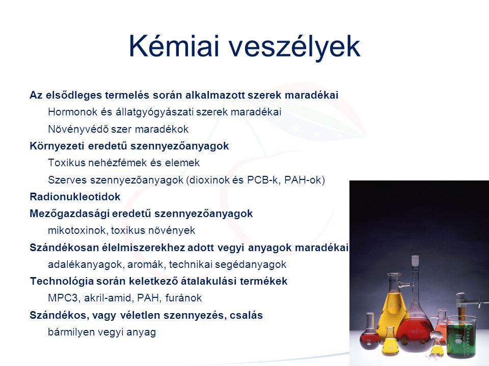 Kémiai veszélyek Az elsődleges termelés során alkalmazott szerek maradékai. Hormonok és állatgyógyászati szerek maradékai.