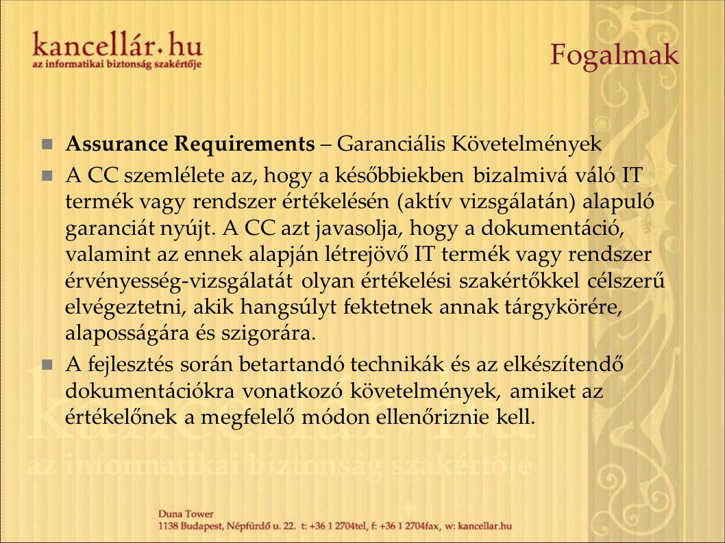 Fogalmak Assurance Requirements – Garanciális Követelmények