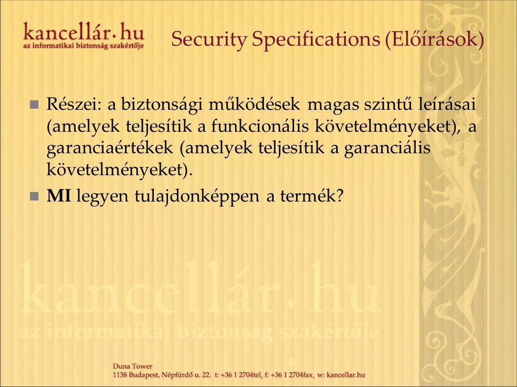 Security Specifications (Előírások)