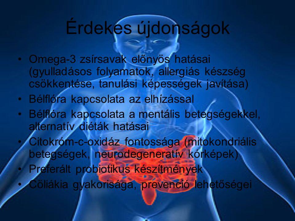 Érdekes újdonságok Omega-3 zsírsavak előnyös hatásai (gyulladásos folyamatok, allergiás készség csökkentése, tanulási képességek javítása)