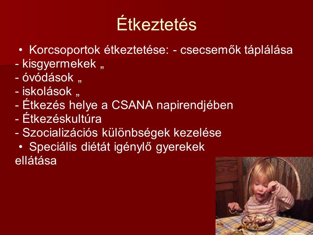 Étkeztetés Korcsoportok étkeztetése: - csecsemők táplálása