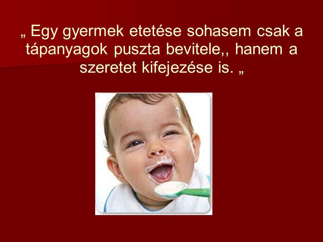 """"""" Egy gyermek etetése sohasem csak a tápanyagok puszta bevitele,, hanem a szeretet kifejezése is. """""""