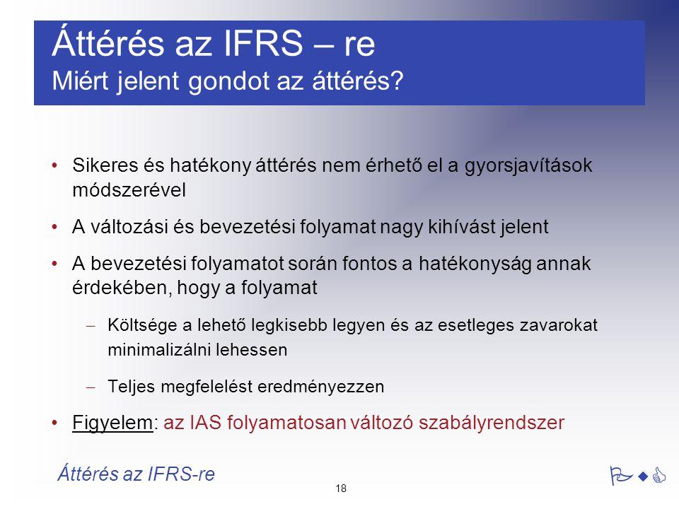 Áttérés az IFRS – re Miért jelent gondot az áttérés