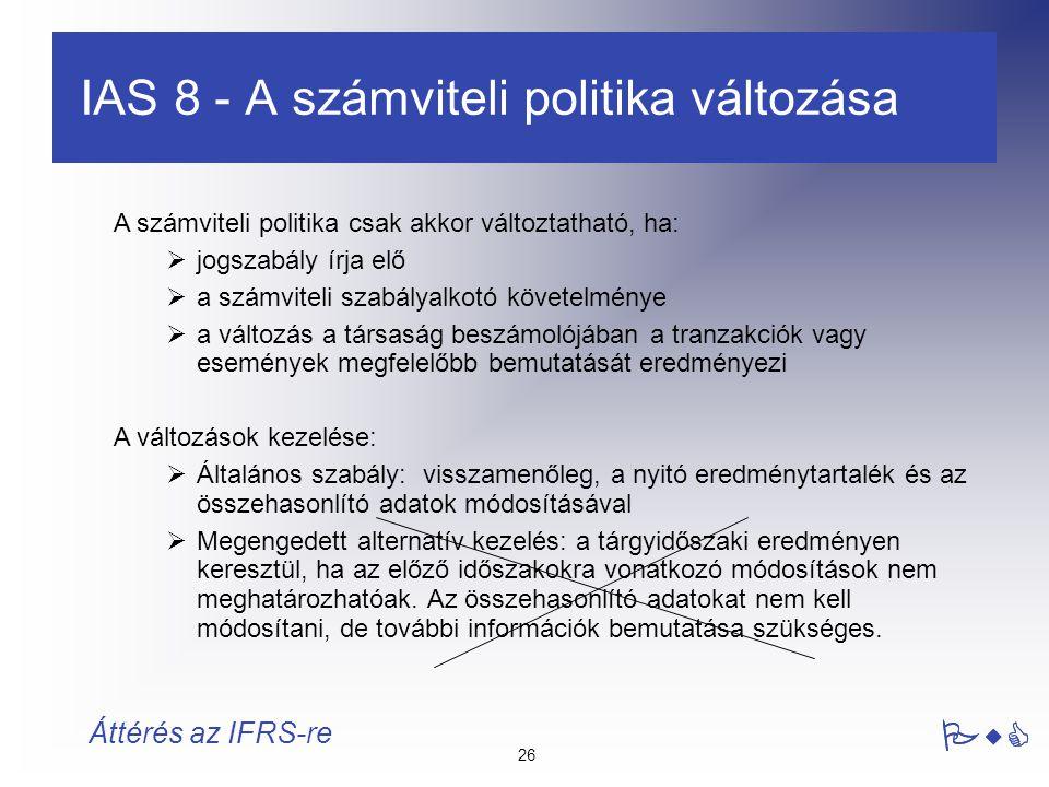 IAS 8 - A számviteli politika változása