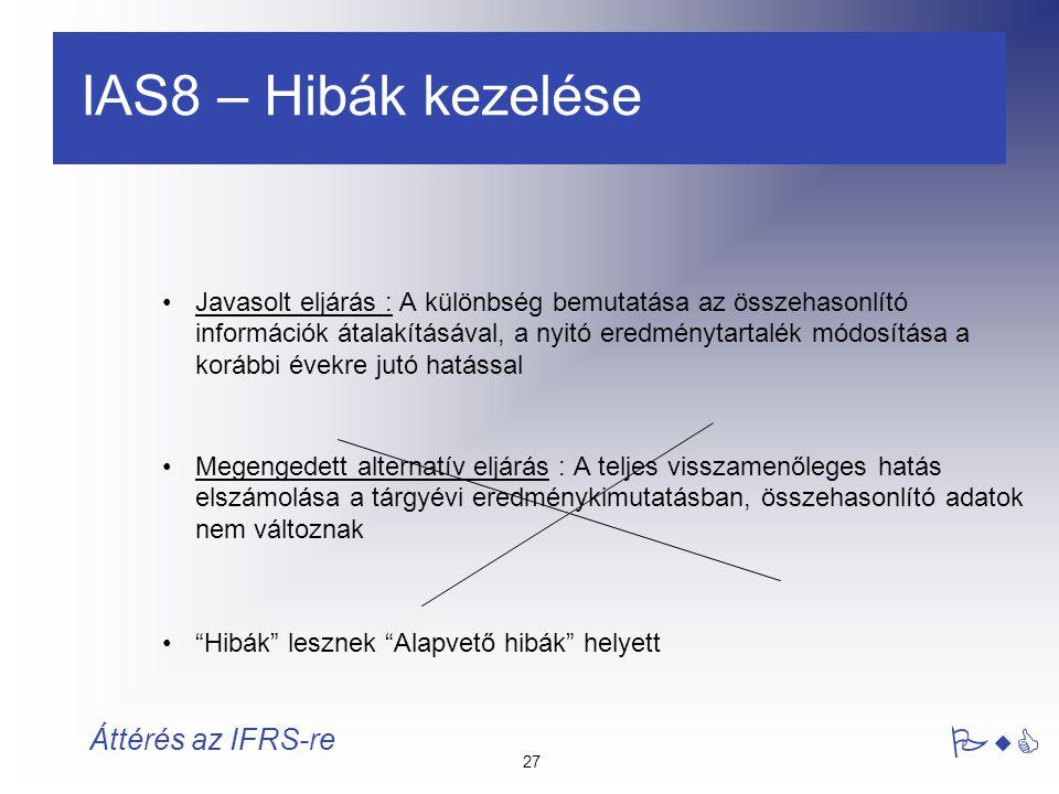 IAS8 – Hibák kezelése