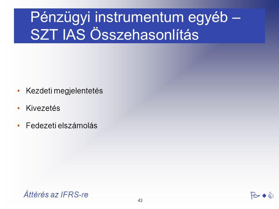 Pénzügyi instrumentum egyéb – SZT IAS Összehasonlítás