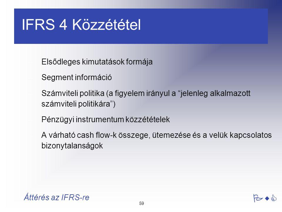 IFRS 4 Közzététel Elsődleges kimutatások formája Segment információ