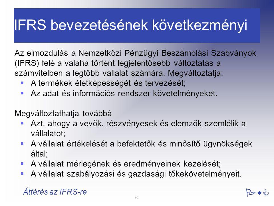 IFRS bevezetésének következményi