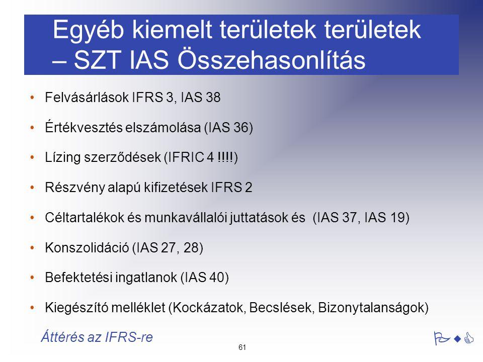 Egyéb kiemelt területek területek – SZT IAS Összehasonlítás