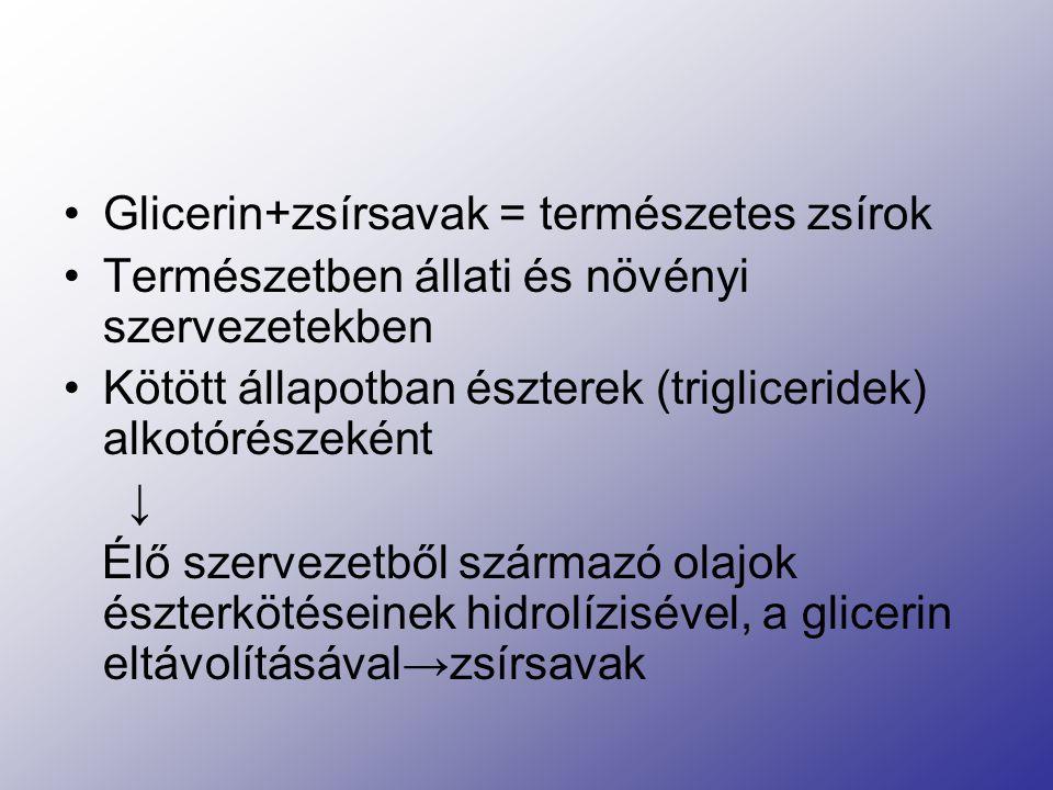 Glicerin+zsírsavak = természetes zsírok