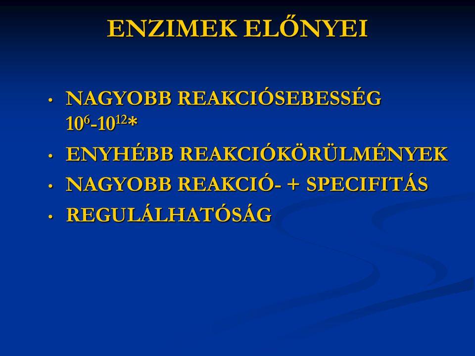 ENZIMEK ELŐNYEI NAGYOBB REAKCIÓSEBESSÉG 106-1012*