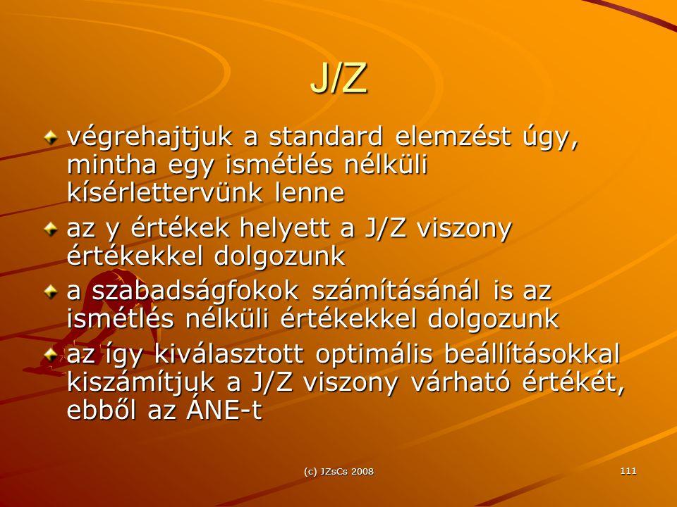 J/Z végrehajtjuk a standard elemzést úgy, mintha egy ismétlés nélküli kísérlettervünk lenne. az y értékek helyett a J/Z viszony értékekkel dolgozunk.