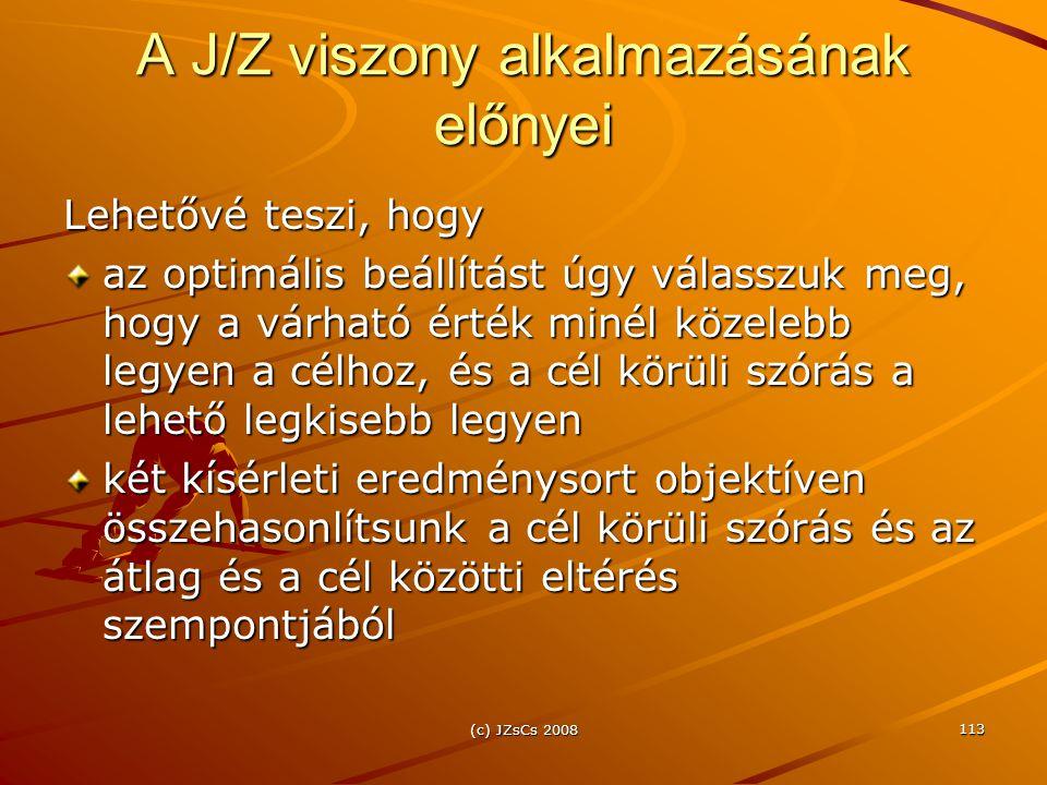 A J/Z viszony alkalmazásának előnyei