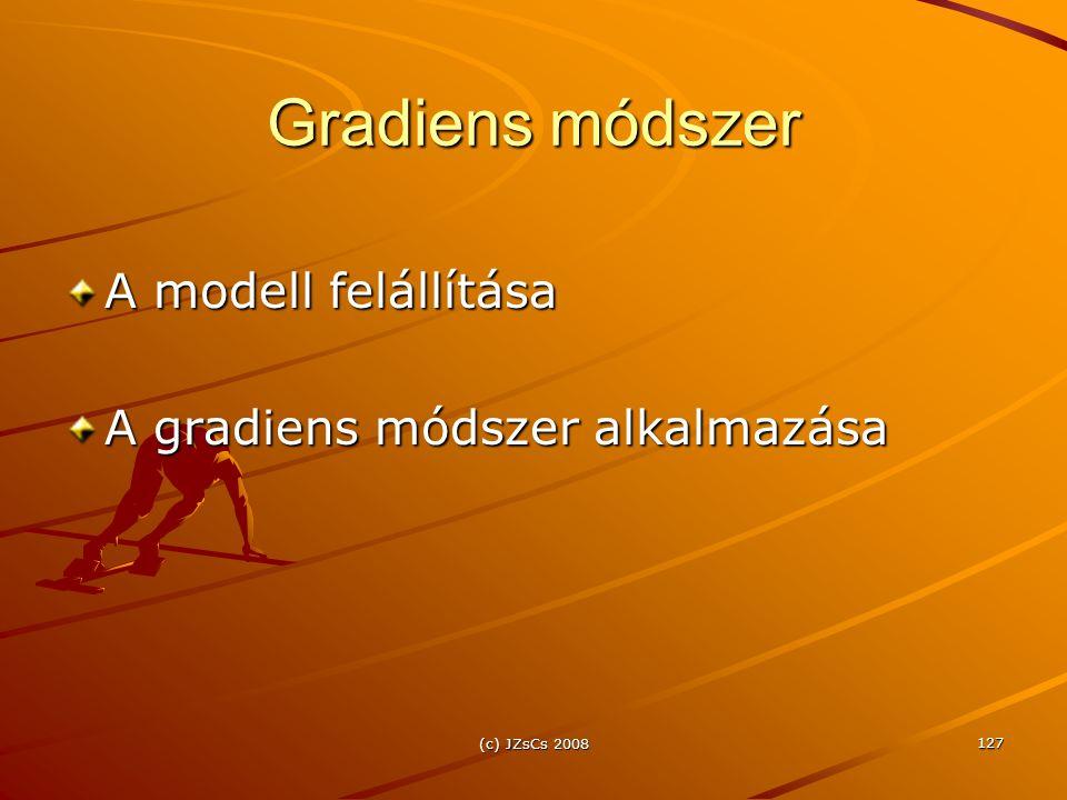 Gradiens módszer A modell felállítása A gradiens módszer alkalmazása