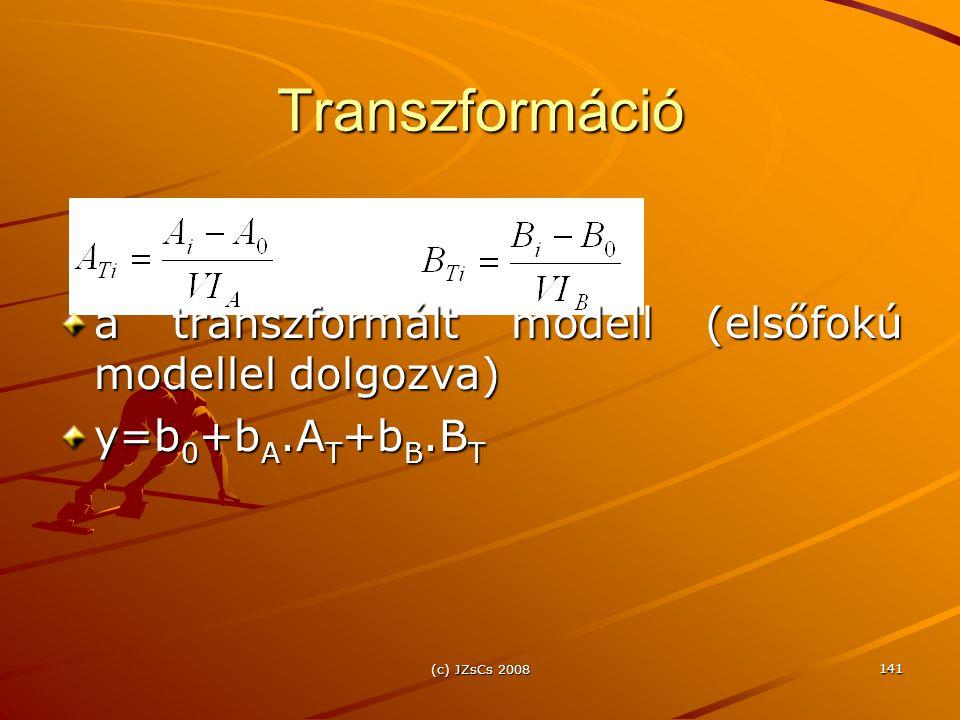 Transzformáció a transzformált modell (elsőfokú modellel dolgozva)
