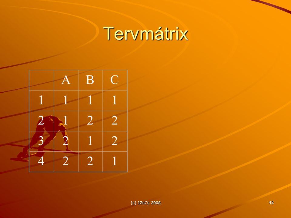 Tervmátrix A B C 1 2 3 4 (c) JZsCs 2008